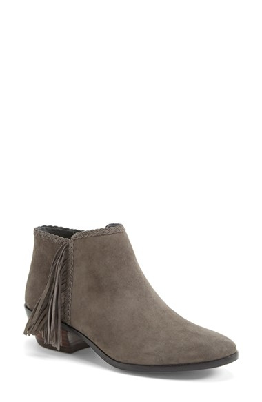 e0af25bdc9e7 Lyst - Sam Edelman  Paige  Fringed Ankle Bootie in Gray
