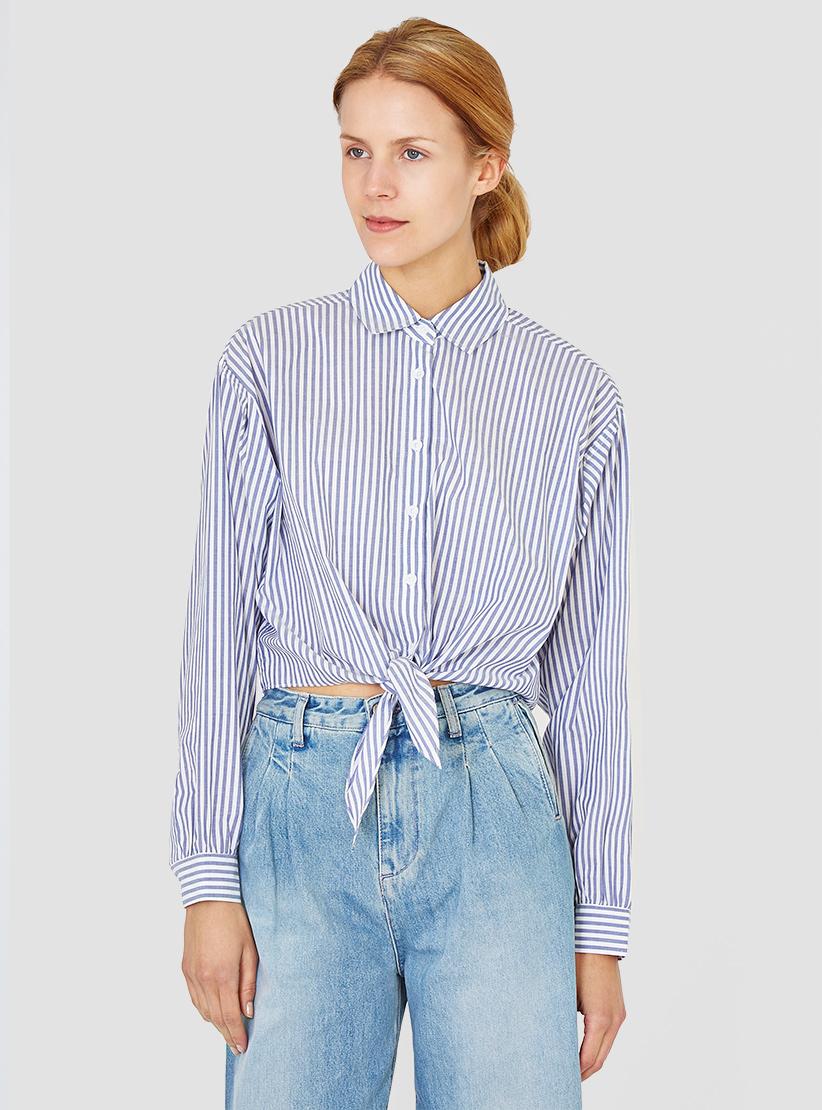 Lyst apiece apart salamina tie front shirt stripe in white for Custom dress shirts charlotte nc
