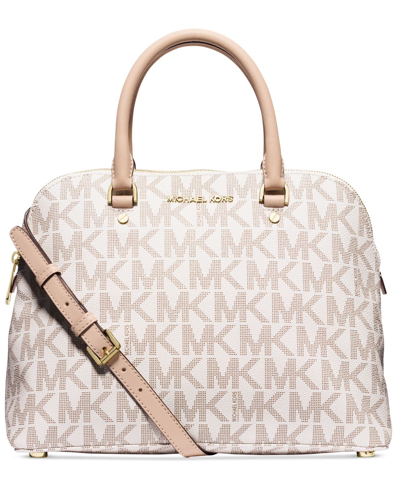 ee25a3d43d1a58 ... canada lyst michael kors michael cindy large dome satchel in natural  2bc57 2e49f