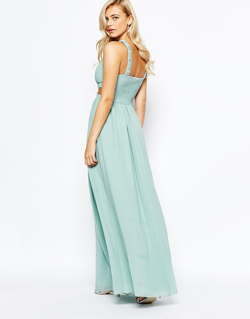Little mistress Chiffon Maxi Dress With Cut Outs in Green | Lyst