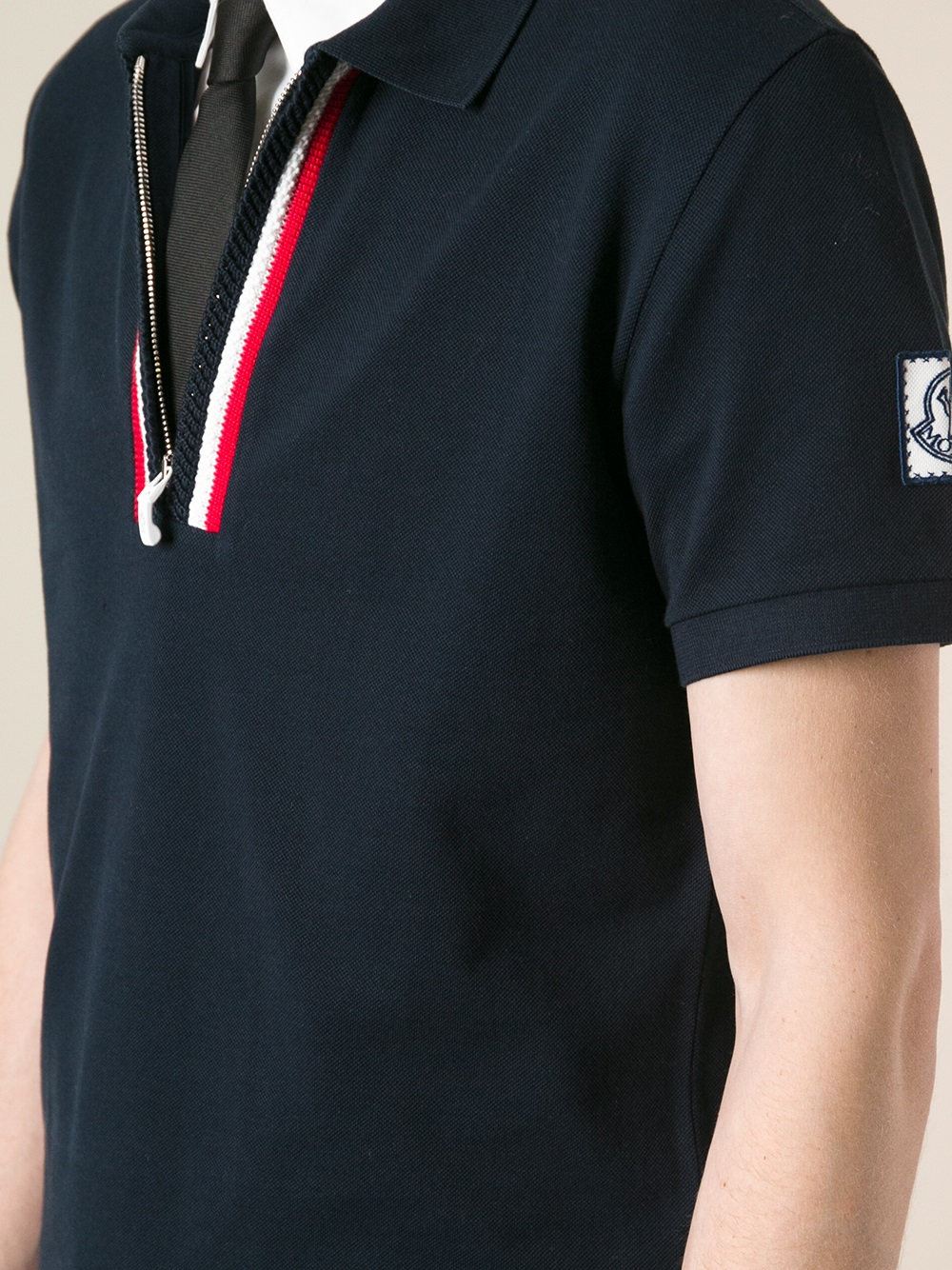 3b04099c3 Moncler Gamme Bleu Blue Zipped Polo Shirt for men