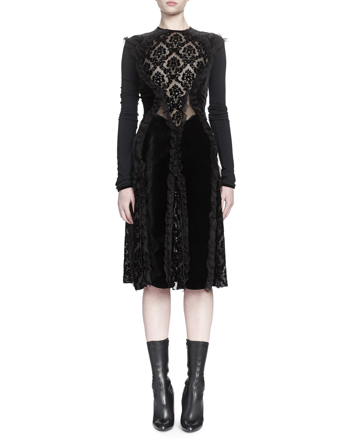 Givenchy Devore Ruffled Dress in Black