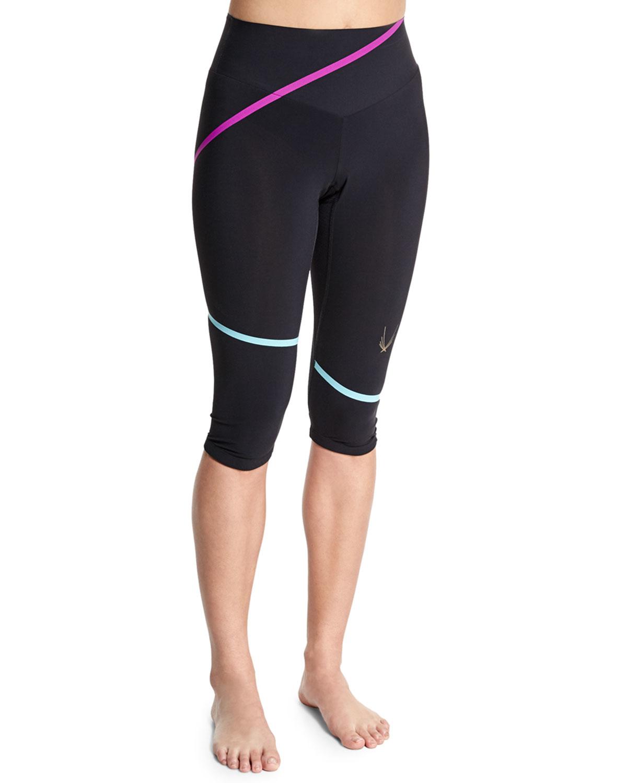 lucas hugh lazer stripe capri sport leggings in black lyst. Black Bedroom Furniture Sets. Home Design Ideas