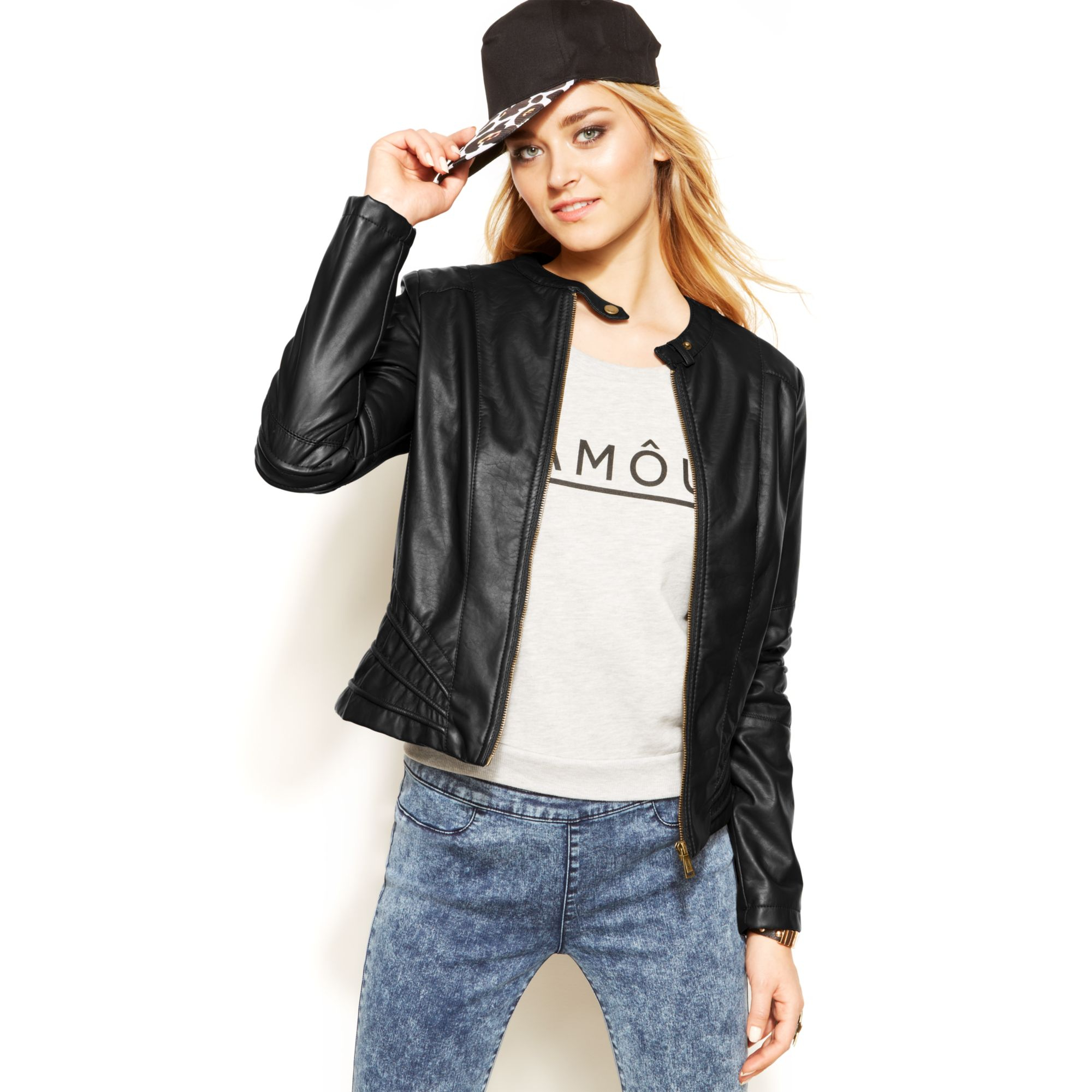 Jou jou jacket faux leather motorcycle