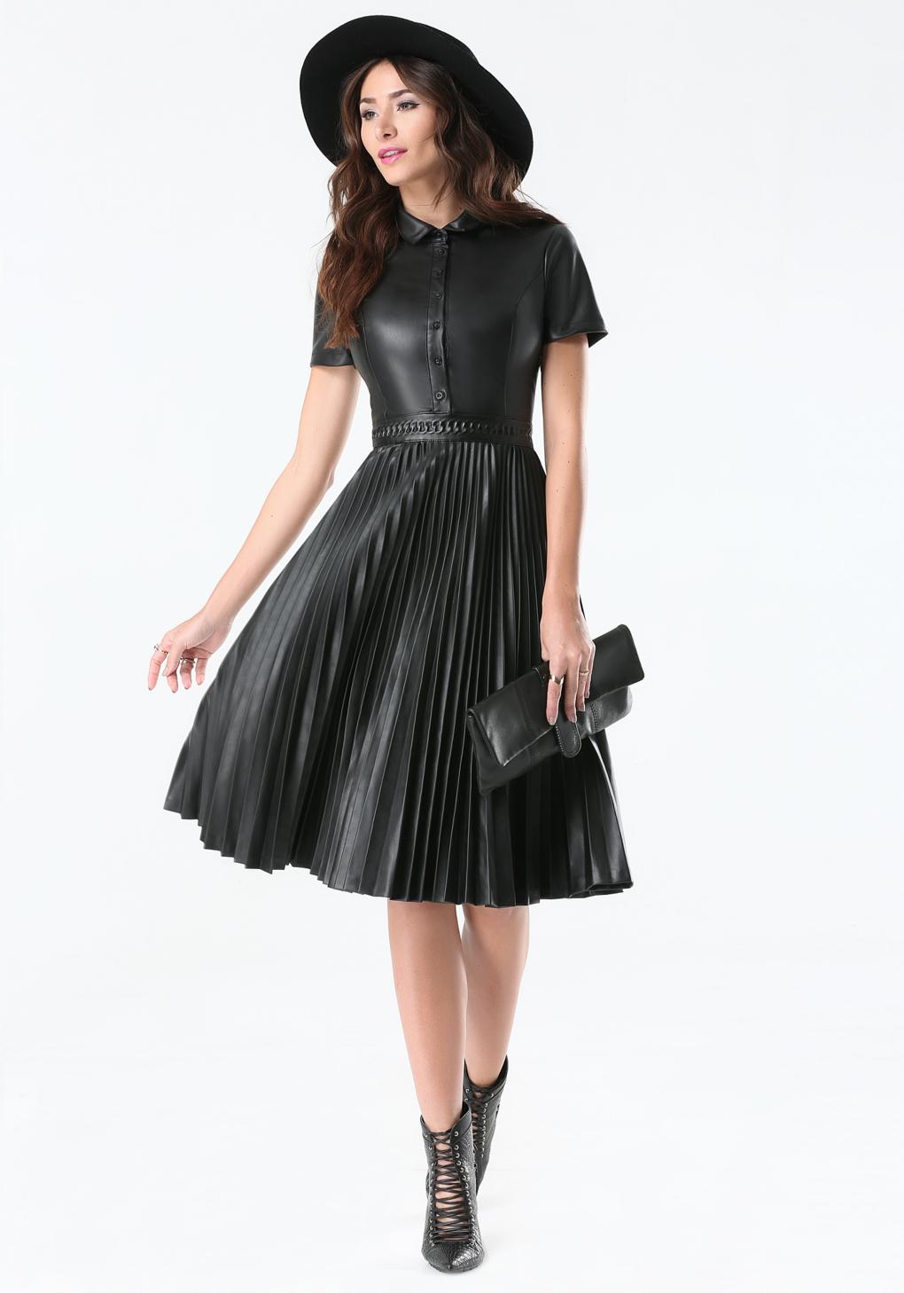 Bebe Faux Leather Pleated Dress in Black - Lyst