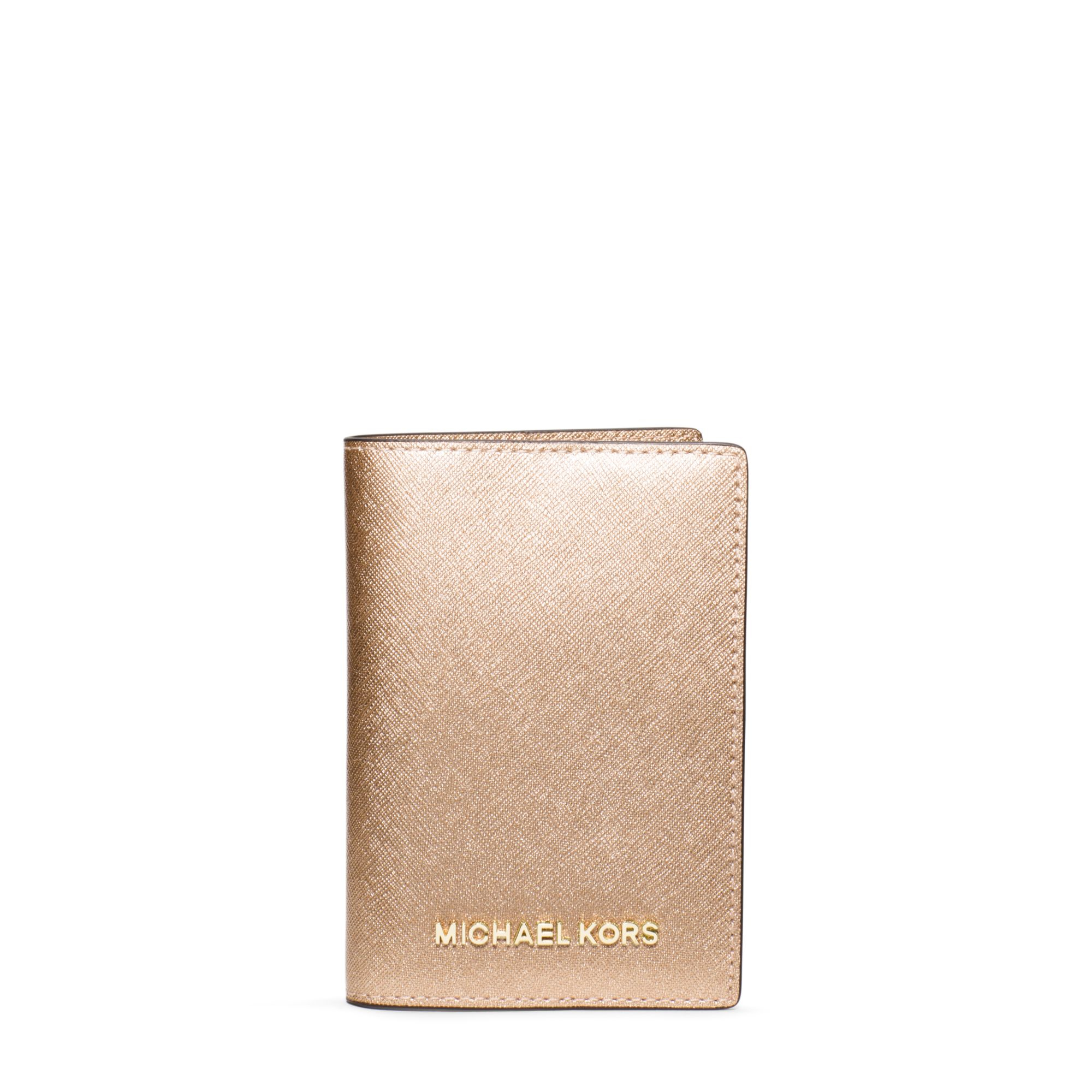 Michael Kors Tassen Gold : Michael kors jet set travel metallic saffiano leather