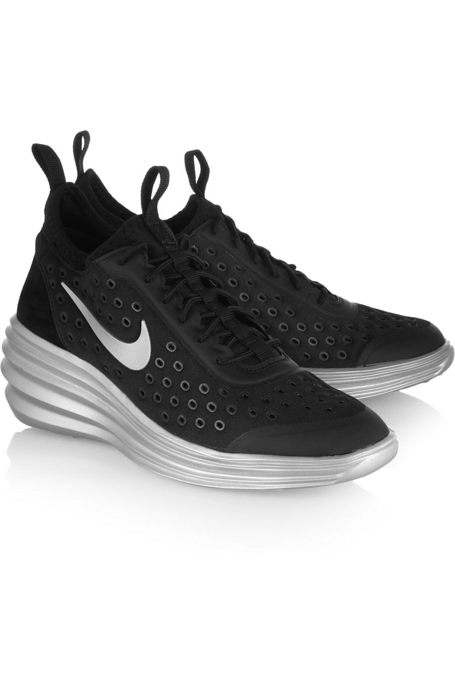 Nike Lunarelite Sky Hi Canvas and Suede Wedge Sneakers in ...