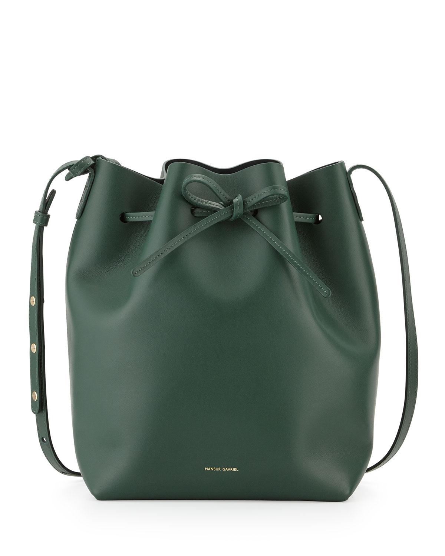 lyst mansur gavriel structured leather bucket bag in green. Black Bedroom Furniture Sets. Home Design Ideas