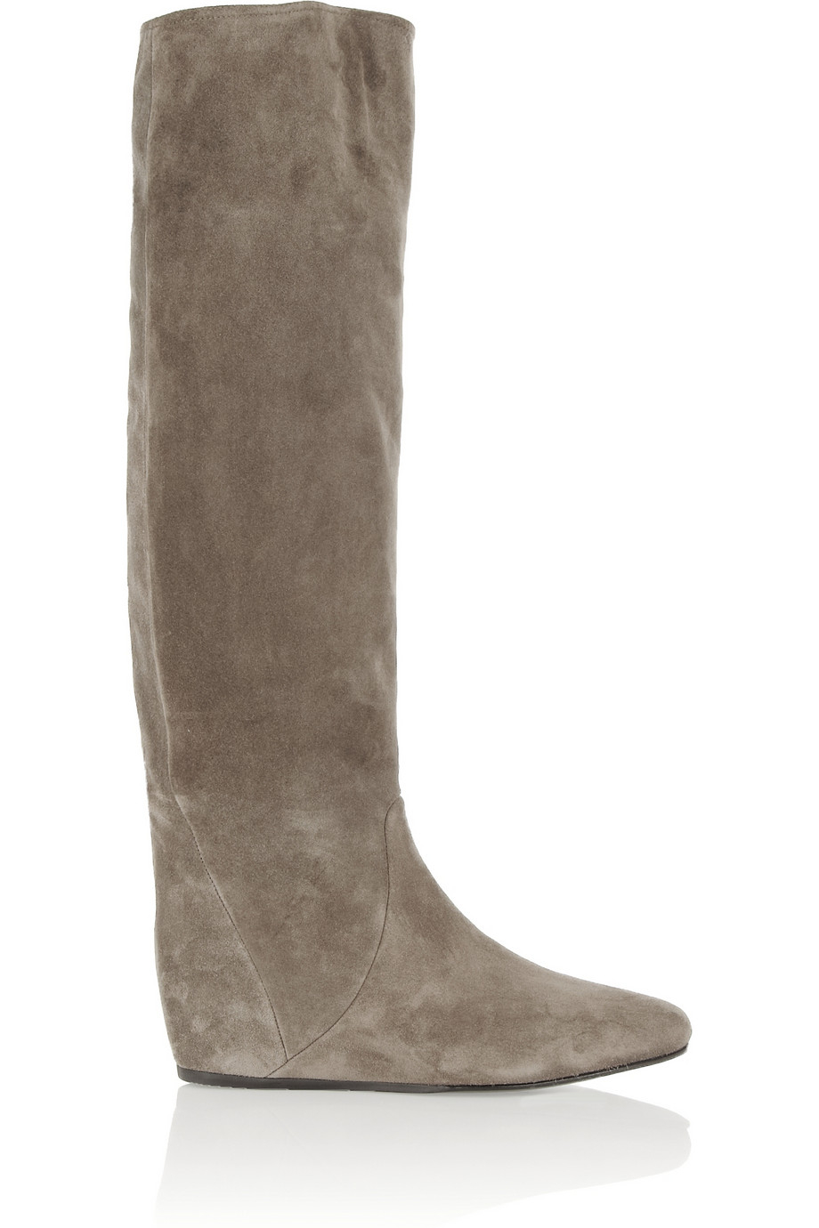 48b5583fbf30 Lanvin Suede Wedge Knee Boots in Gray - Lyst