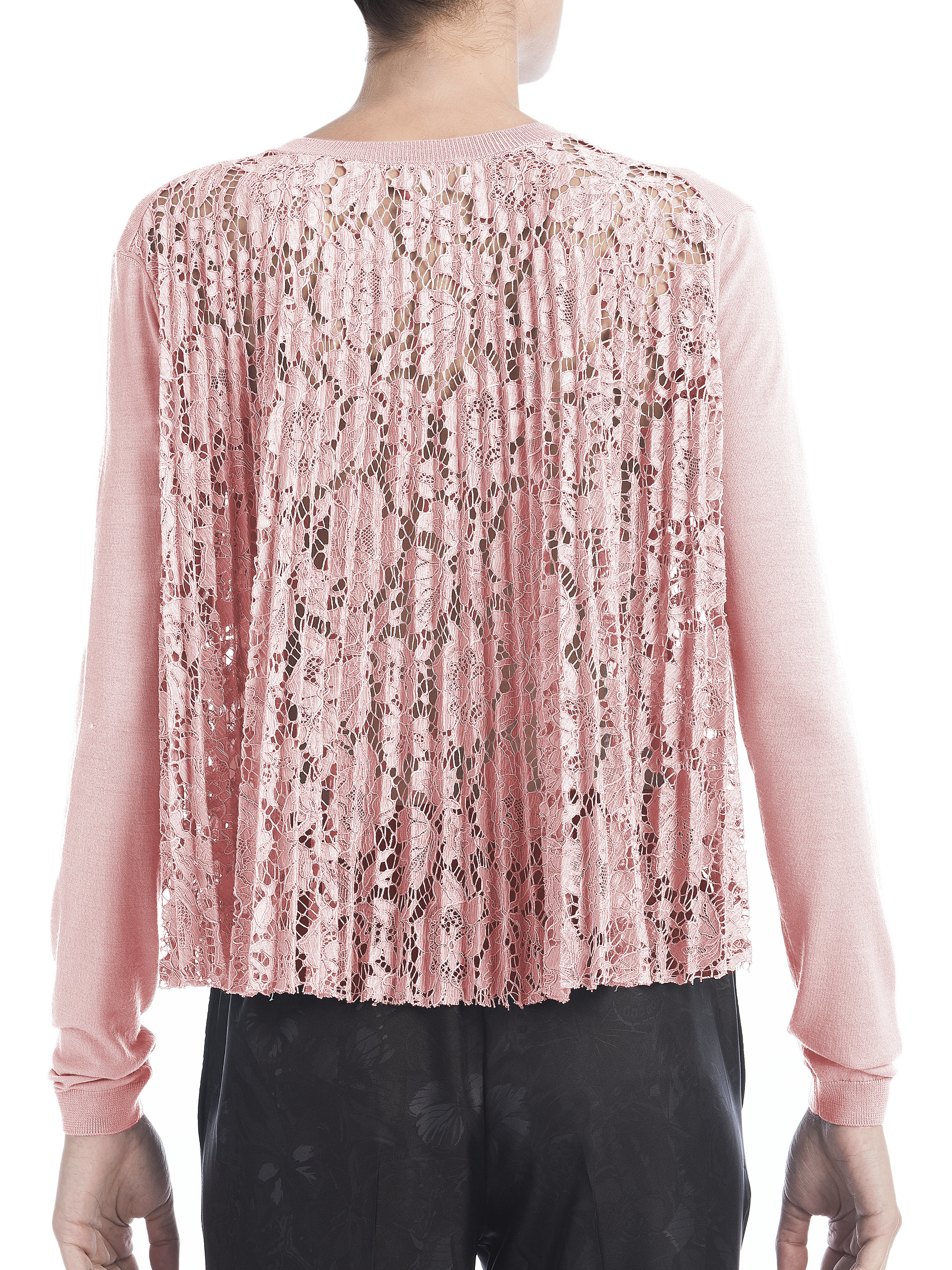 Valentino Pleated Lace-back Cardigan in Pink | Lyst