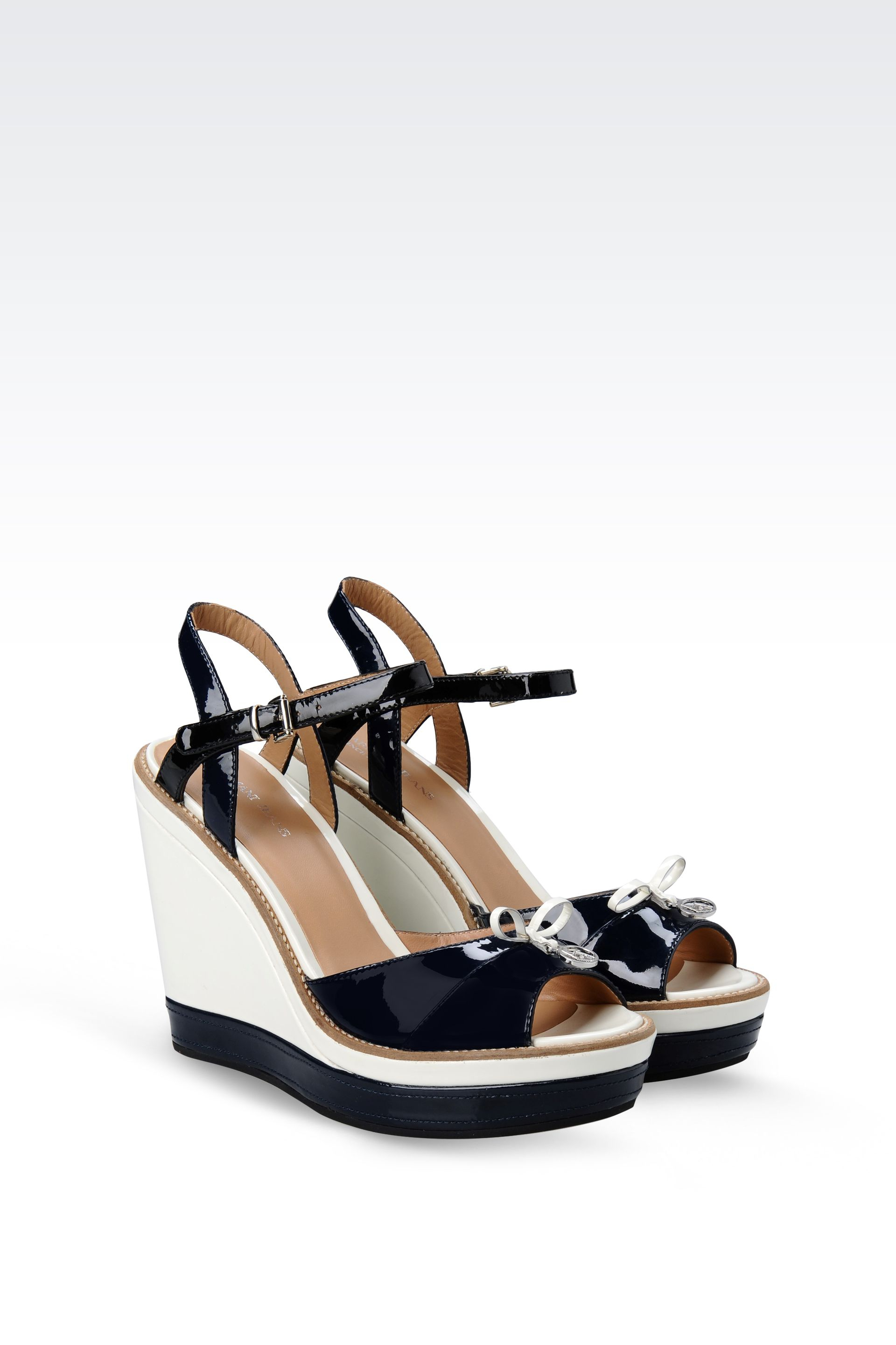 804d8efe2d76 Lyst - Armani Jeans Wedge Sandal in Twocolor Patent Effect Leather ...