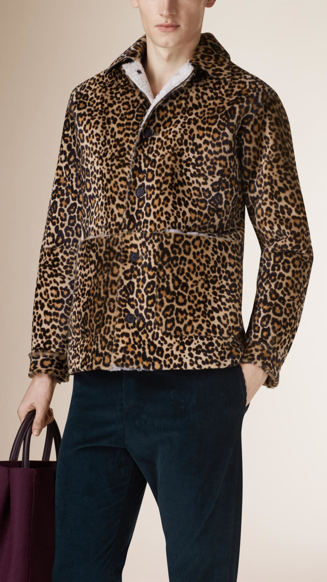 burberry animal print shearling cropped donkey jacket for men lyst
