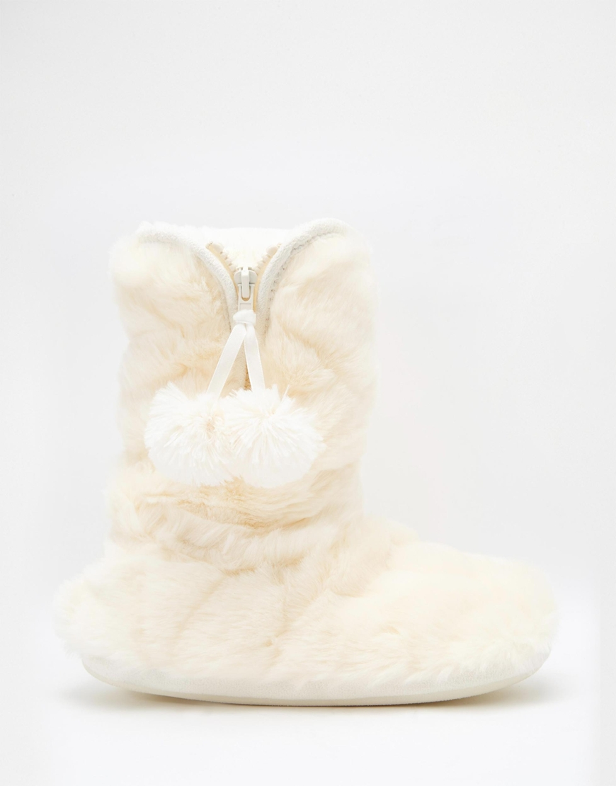 Oasis Fluffy Fur Bootie Slipper in