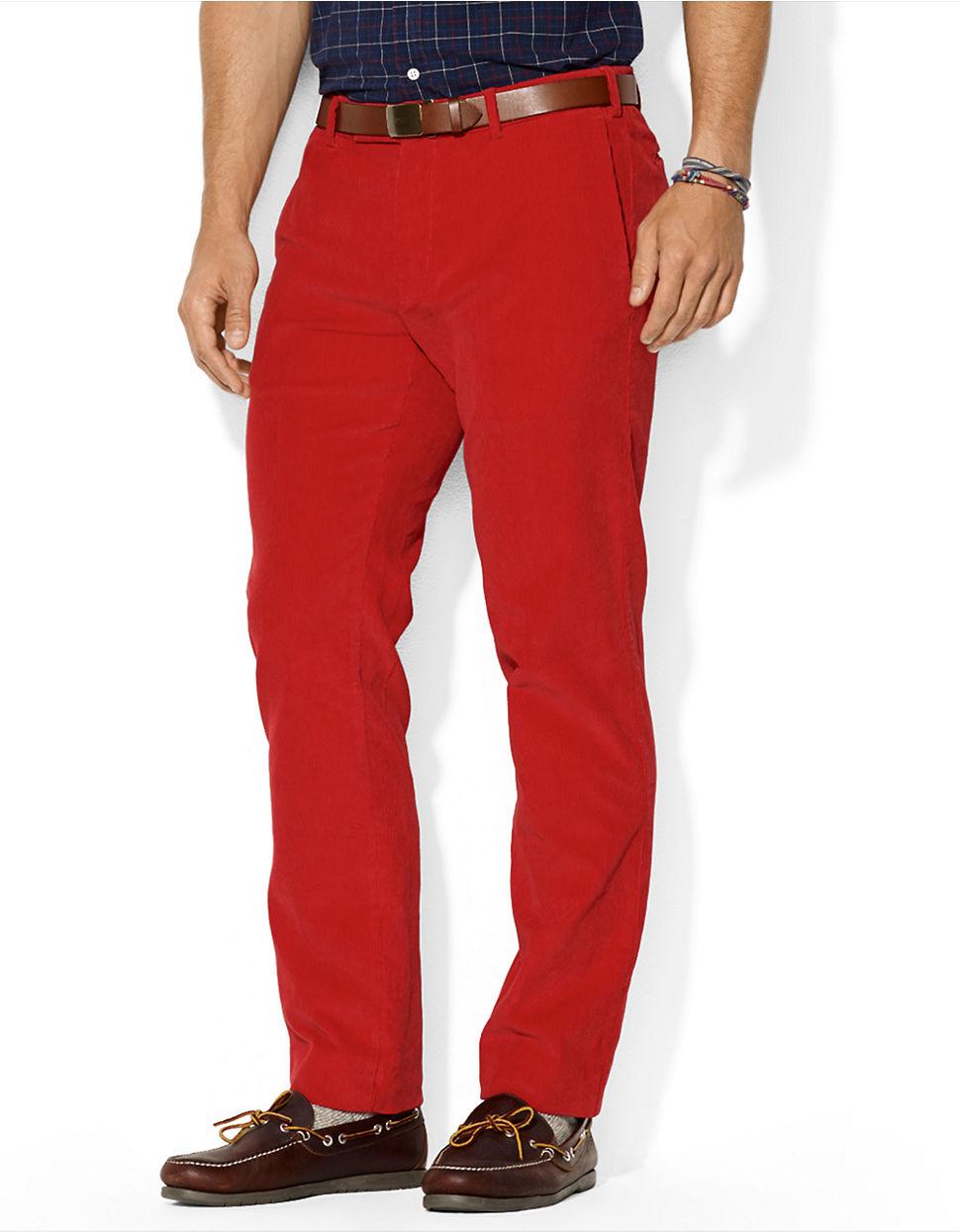 For Front Flat Red Lauren Corduroy Polo Men Fit Ralph Classic Pants USVzMp