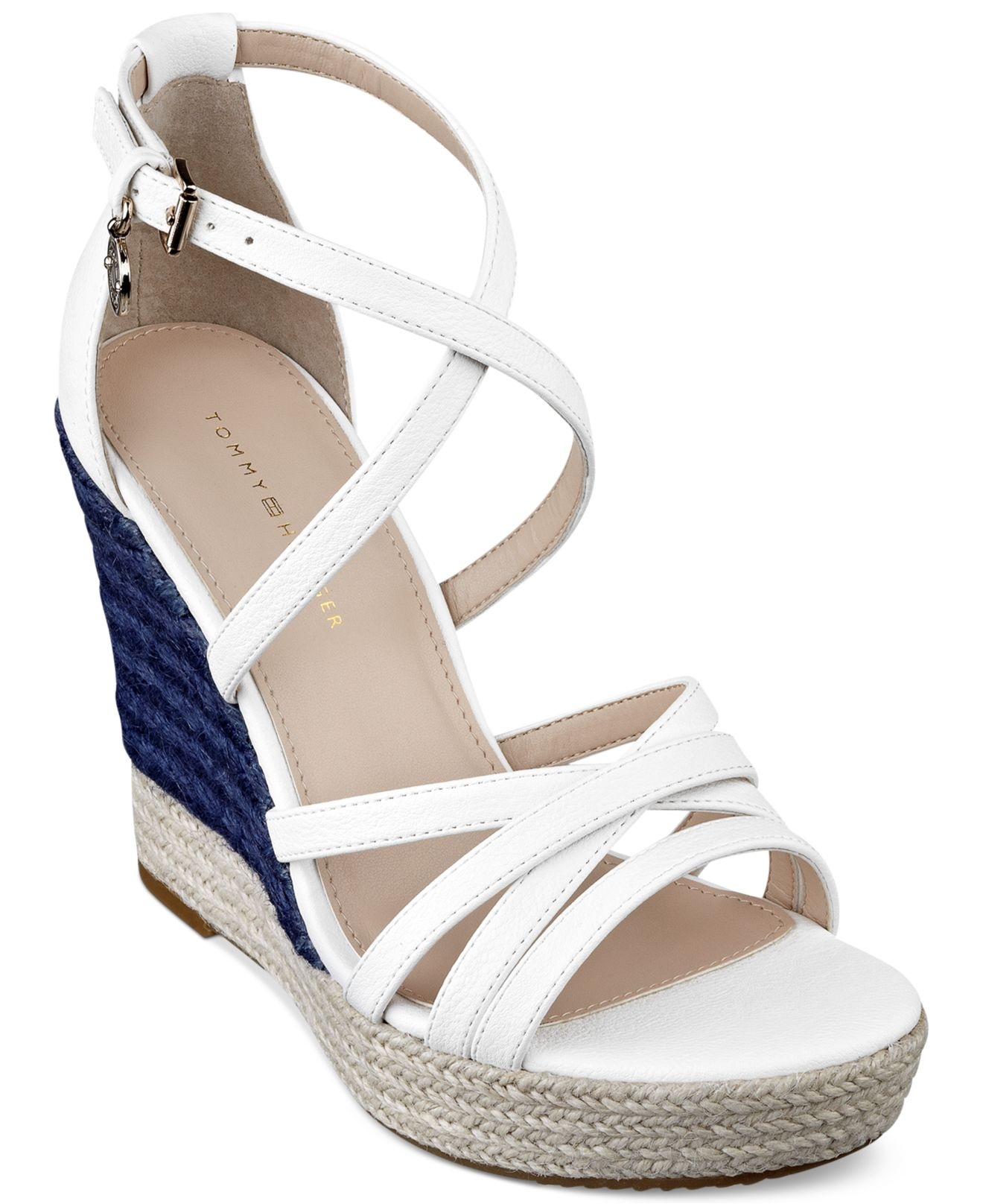 dc2bcd0d2035 Lyst - Tommy Hilfiger Women S Venitia Platform Wedge Sandals in White
