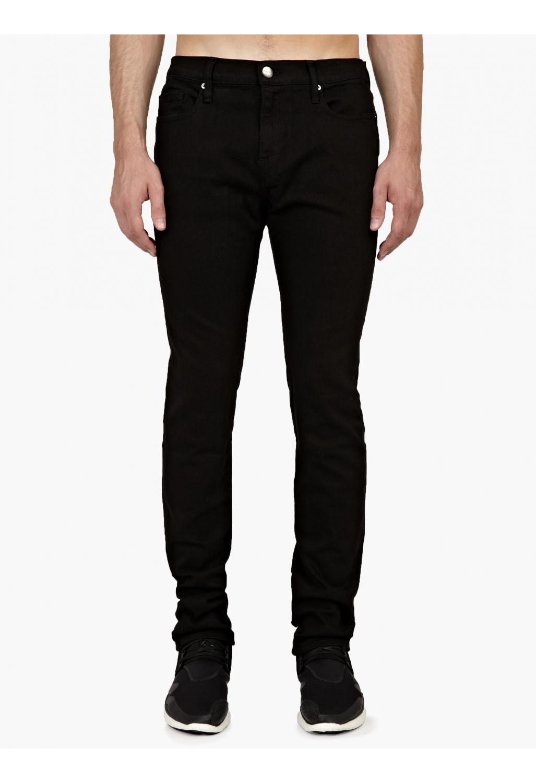 frame black denim skinny l homme jeans in black for men lyst. Black Bedroom Furniture Sets. Home Design Ideas
