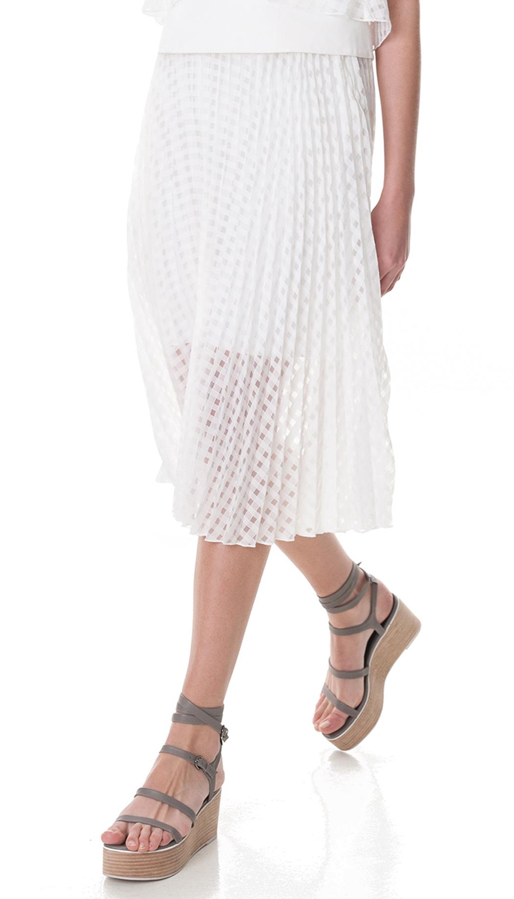 tibi windowpane jacquard sunray pleated skirt in white