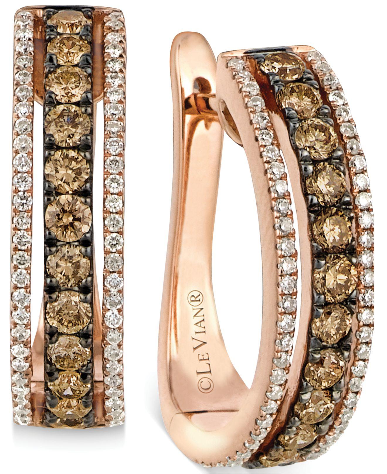 Chocolate Diamond Earrings White Gold