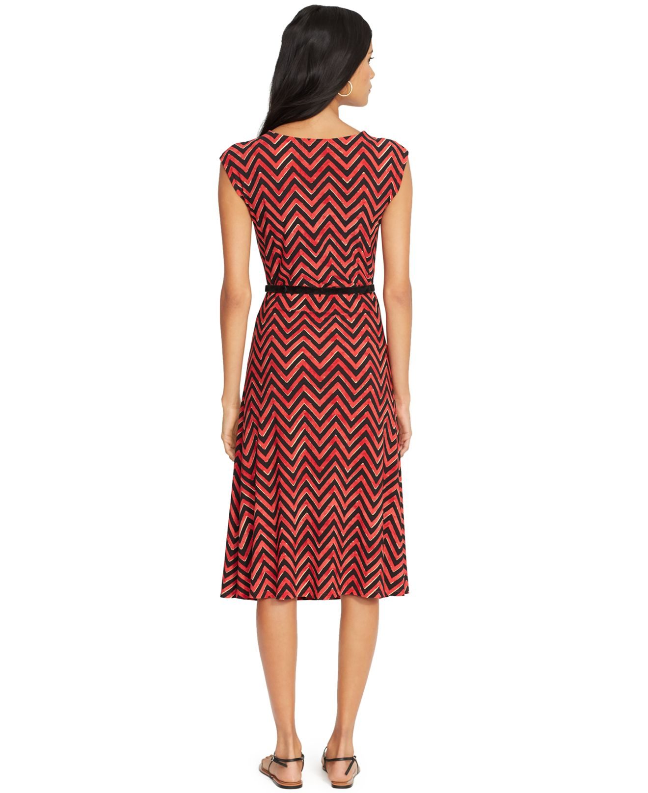 by ralph belted chevron dress in multi