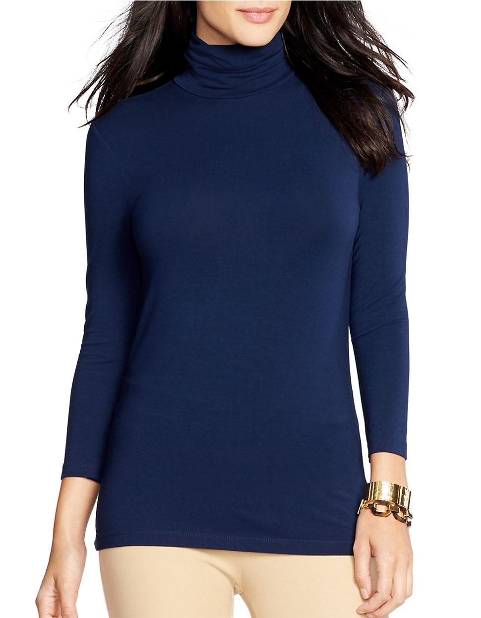 Lauren By Ralph Lauren Synthetic Stretch Jersey Turtleneck Shirt In Navy Blue Lyst
