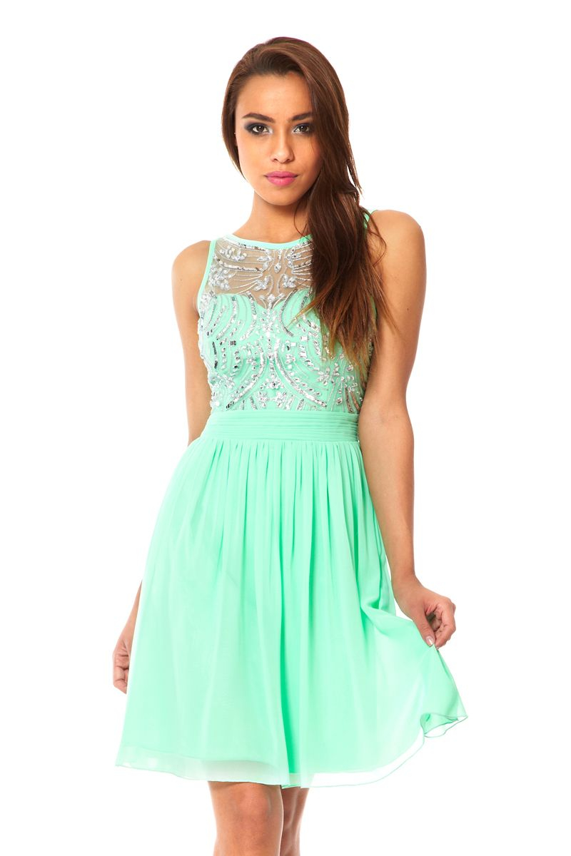 Lyst Quiz Chiffon Sequin Embellished Dress In Green