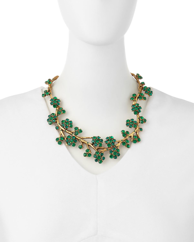 Oscar De La Renta Floral Crystal Statement Necklace O9nlqd74t