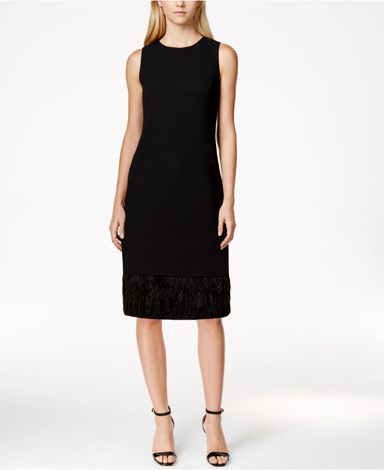 Calvin Klein Petite Feather-trim Sheath Dress In Black | Lyst