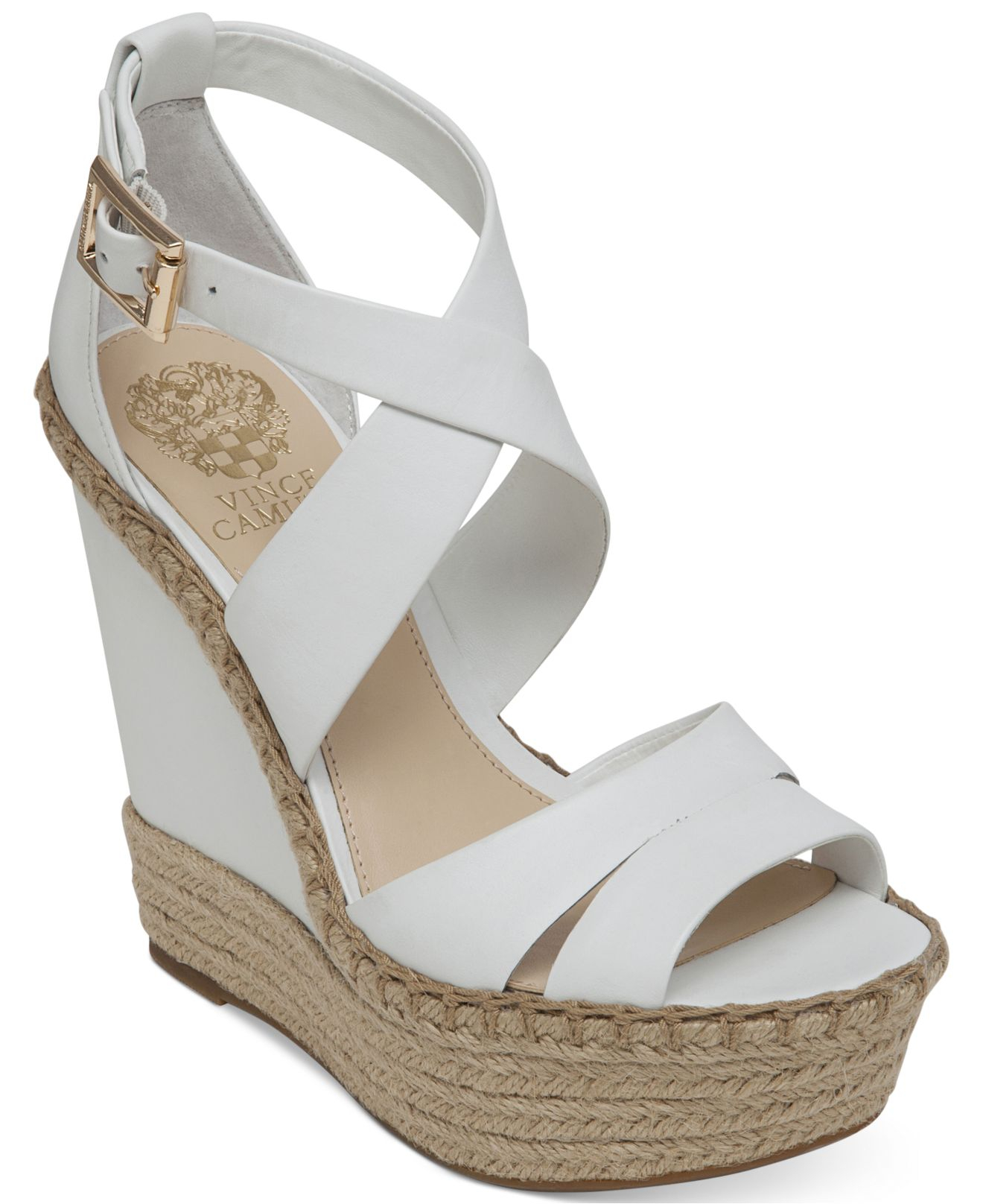448d09798 Vince Camuto Marcela Espadrille Platform Wedge Sandals in White - Lyst