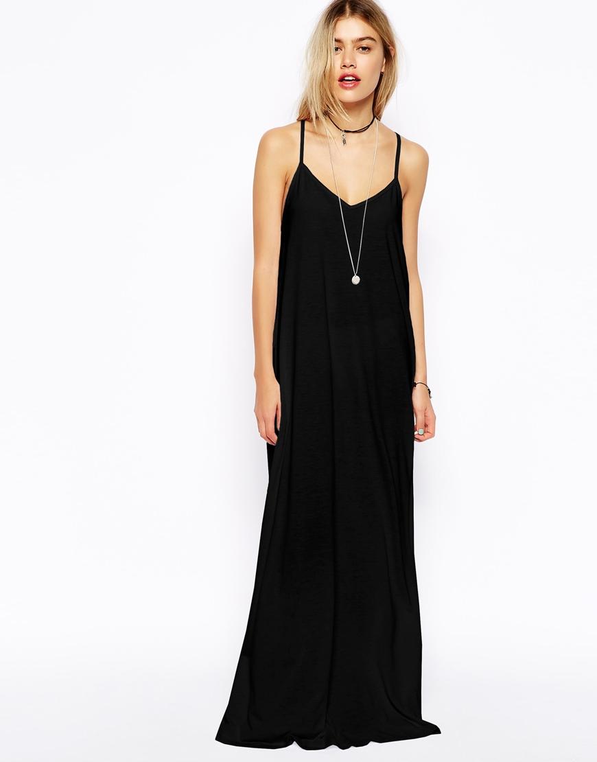 Asos Strappy Cami Maxi Dress In Black Lyst