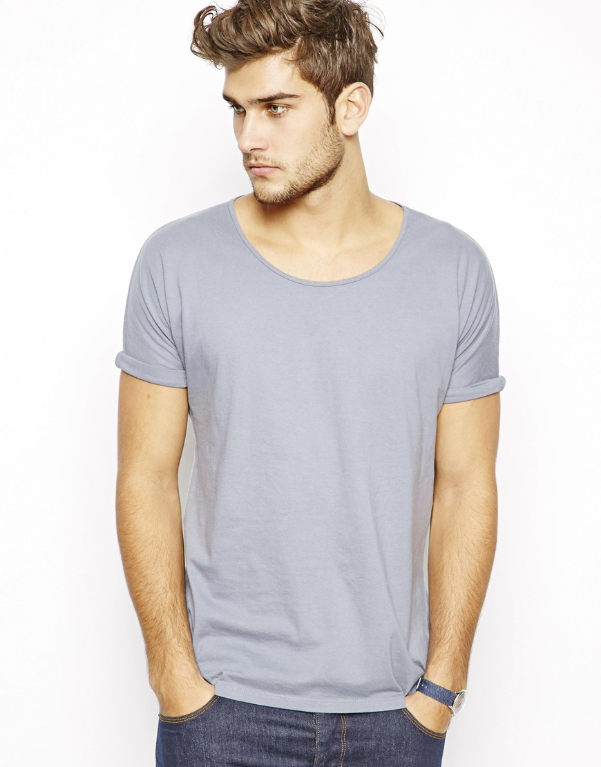Asos Tshirt With Scoop Neck And Rolled Kimono Sleeves In