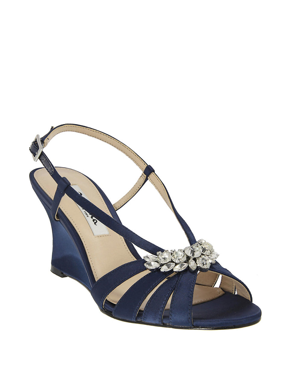 Lyst - Nina Viani Satin Wedge Sandals In Blue