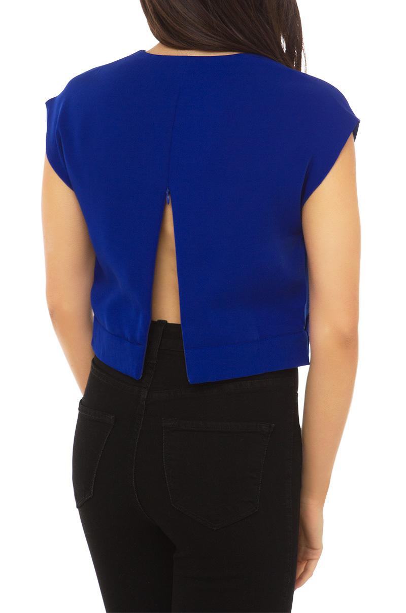 Lyst Akira Black Label Deep V Short Sleeve Crop Top In Blue