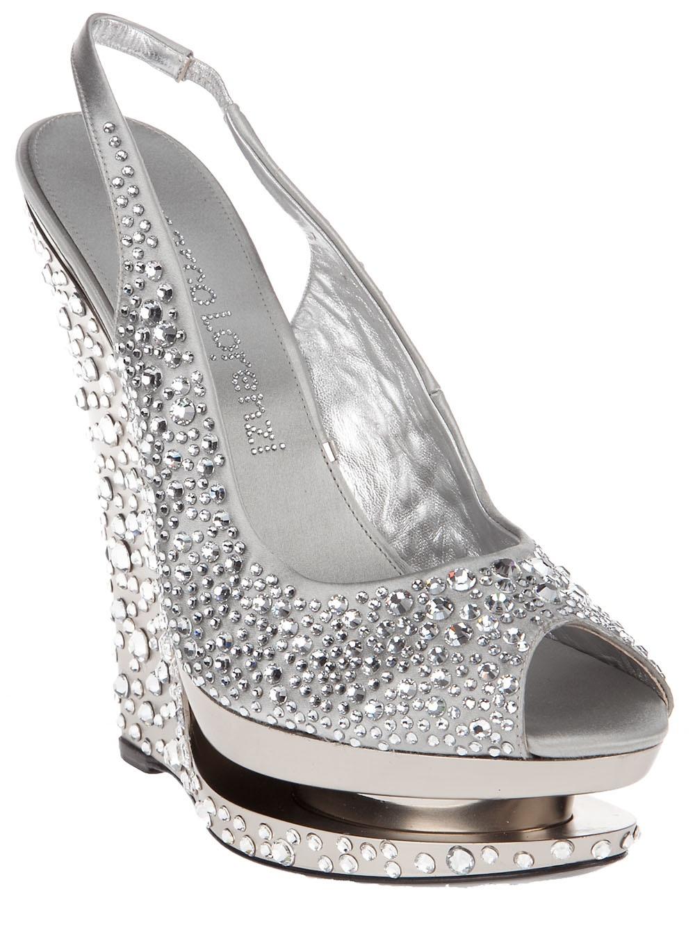 Lyst Gianmarco Lorenzi Crystal Wedge Shoe In Gray