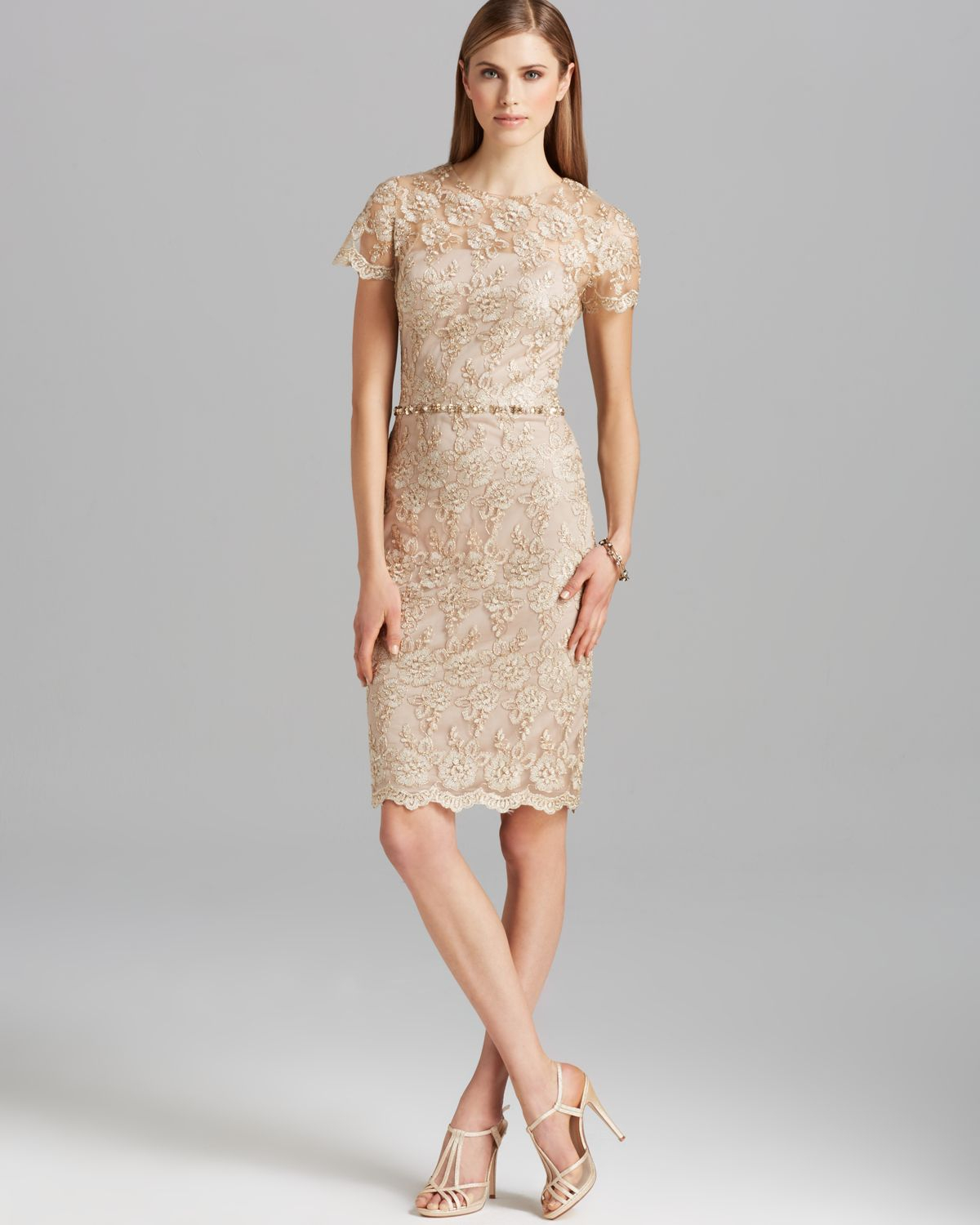 Short White Beaded Lace Dress