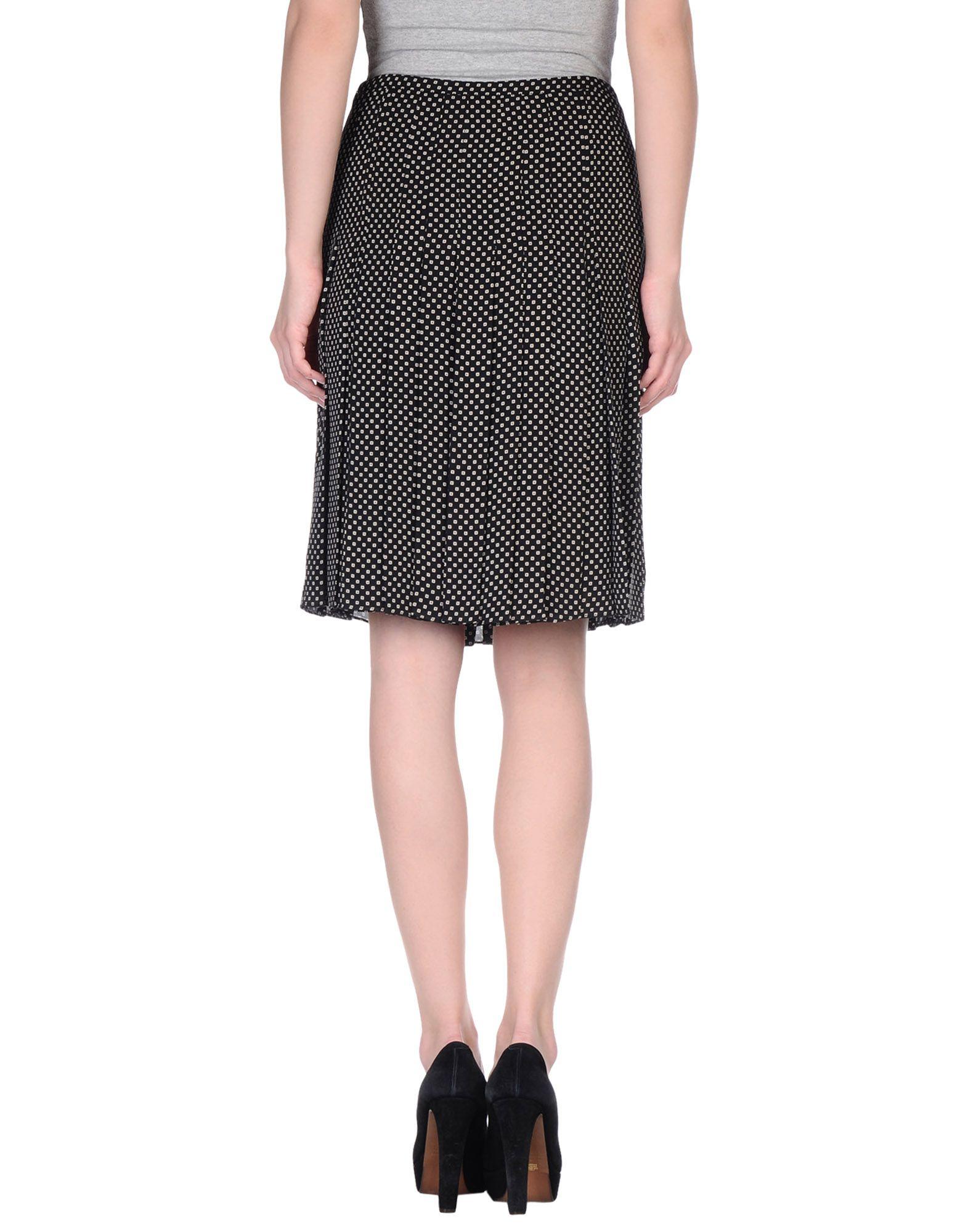 rena lange knee length skirt in black lyst