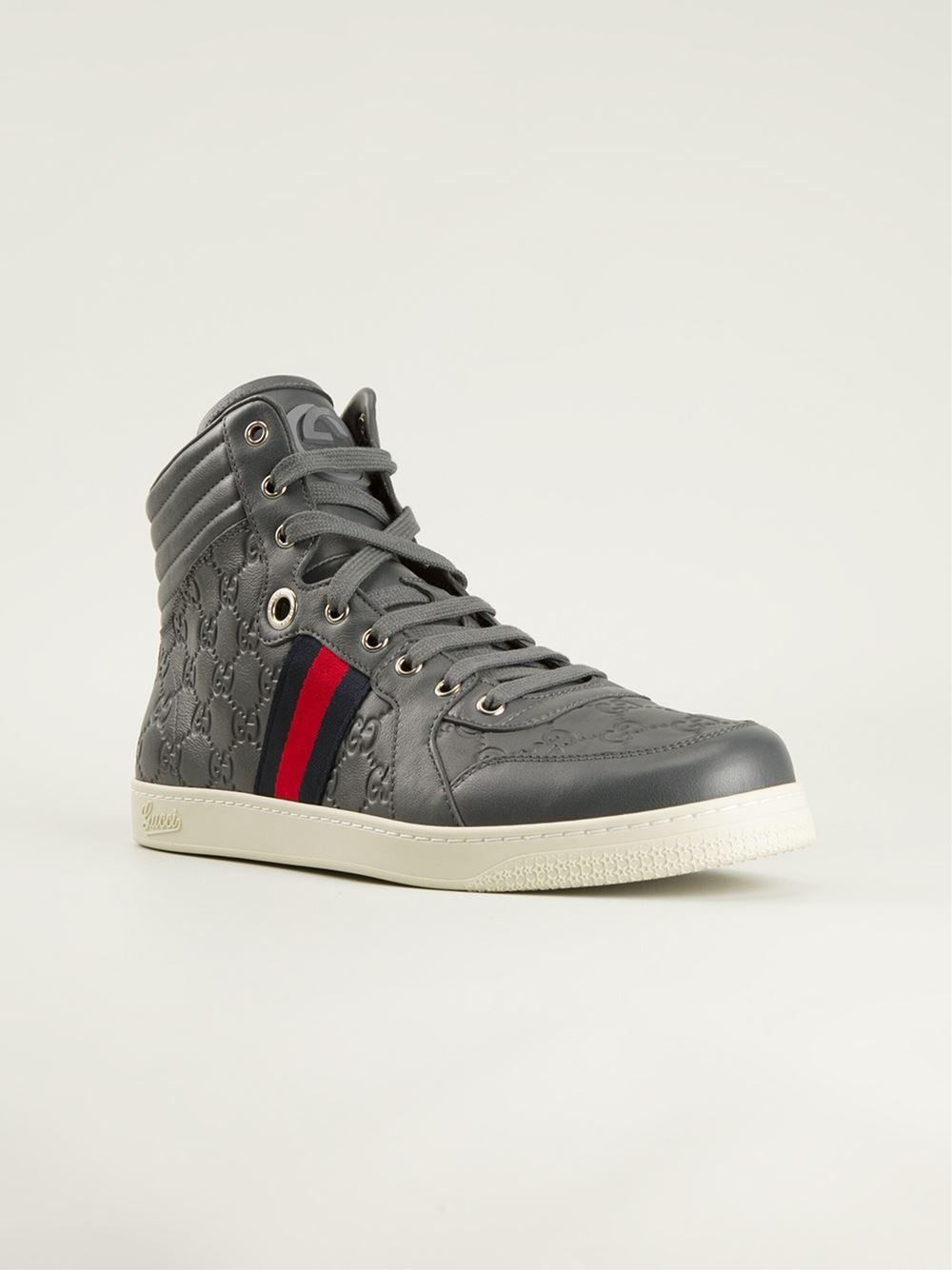 f6e7e3dc7bb1 Lyst - Gucci Monogram Sneakers in Gray for Men
