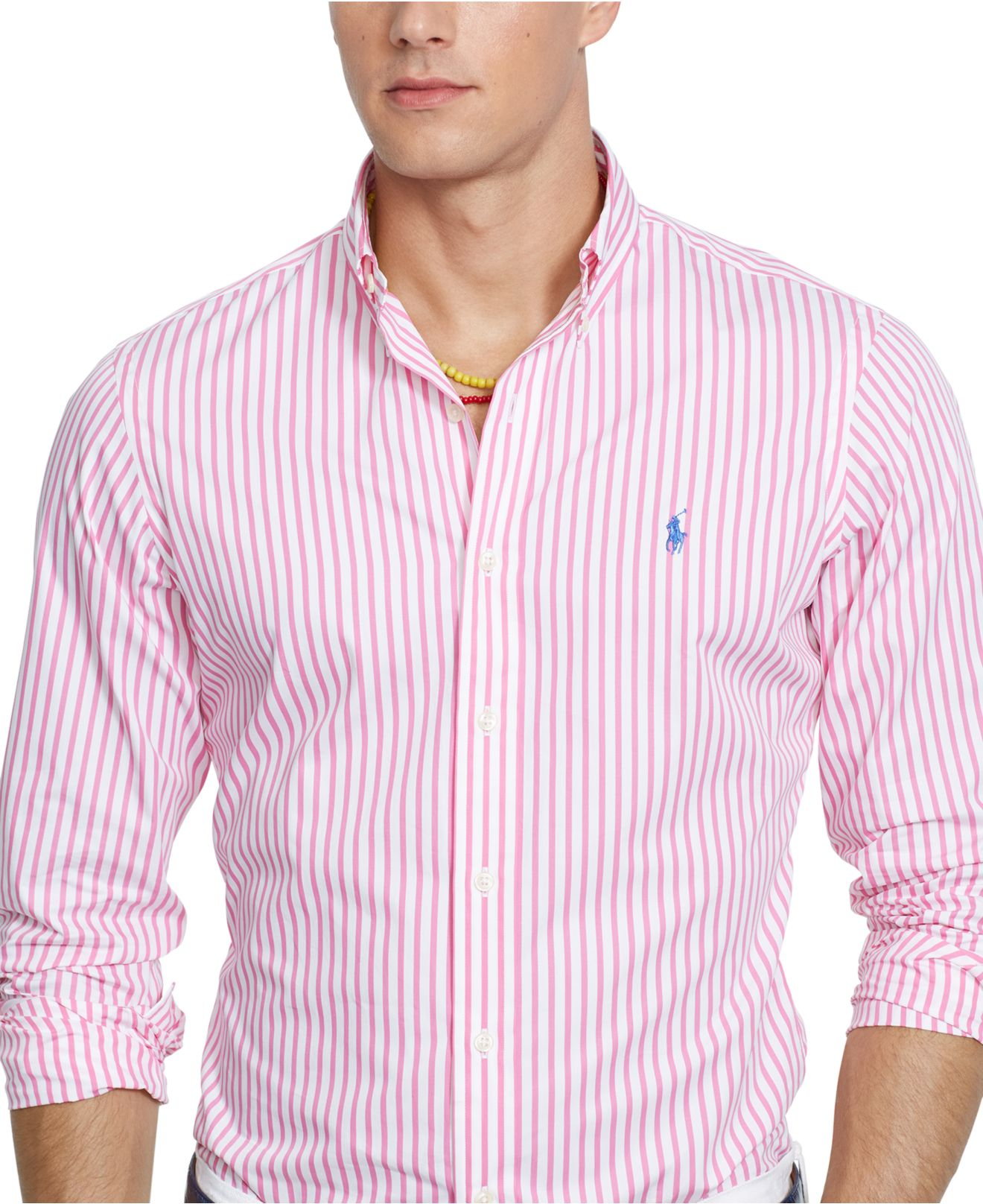 1ca2bc239d021 Lyst - Polo Ralph Lauren Men s Long Sleeve Striped Poplin Shirt in ...