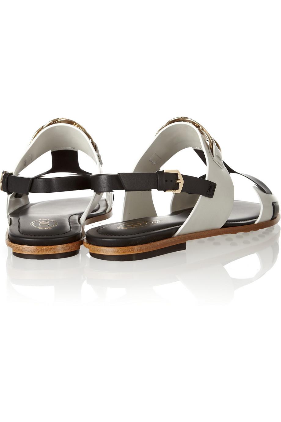 Embellished leather sandals Tod's zfO3vdfA
