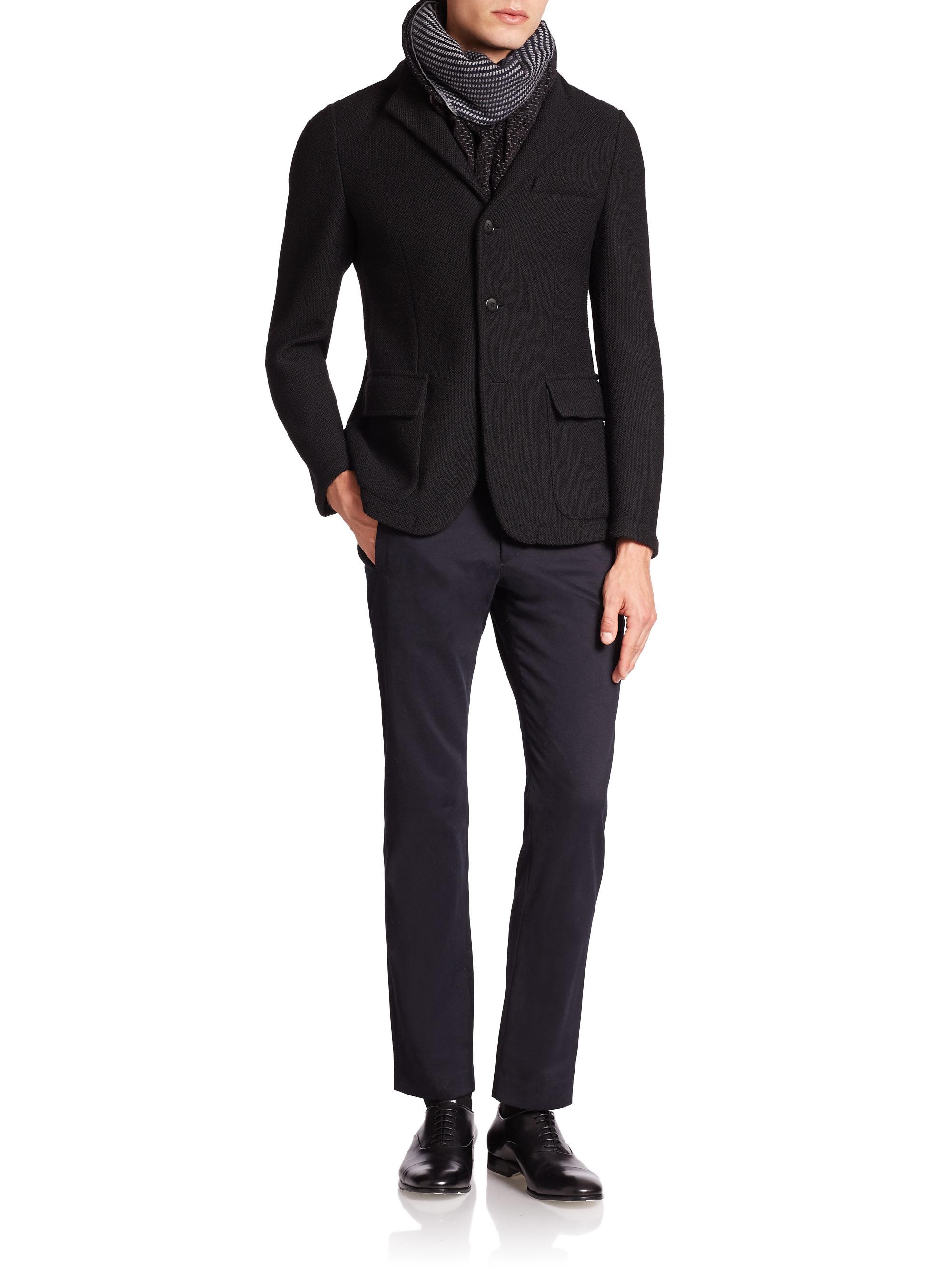 giorgio armani slim fit wool blazer in black for men lyst. Black Bedroom Furniture Sets. Home Design Ideas