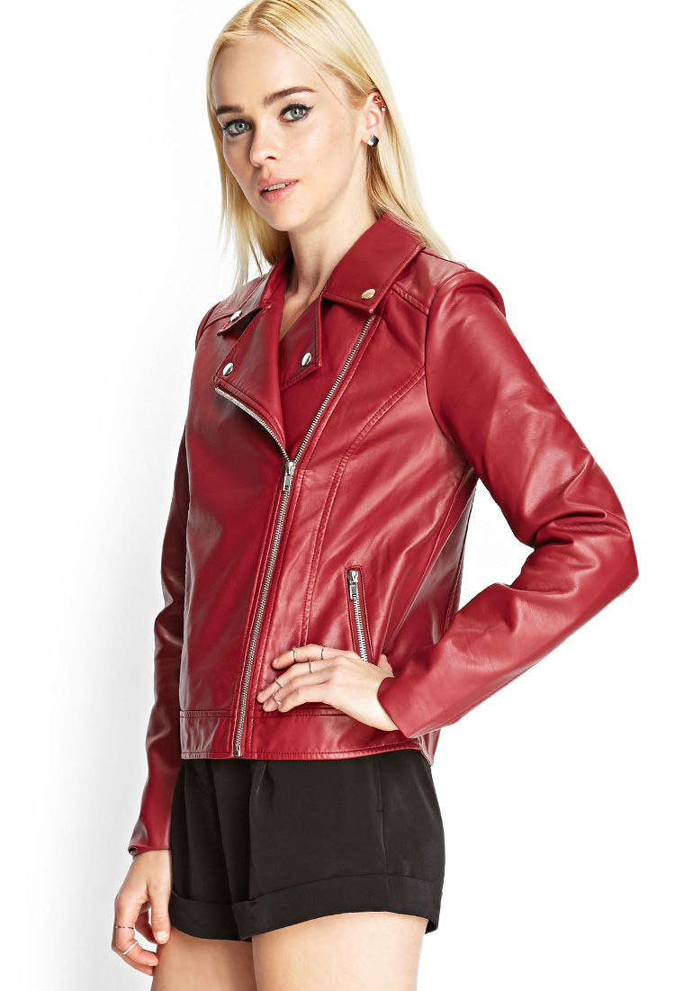 941da7286c9f Forever 21 Faux Leather Moto Jacket in Red - Lyst