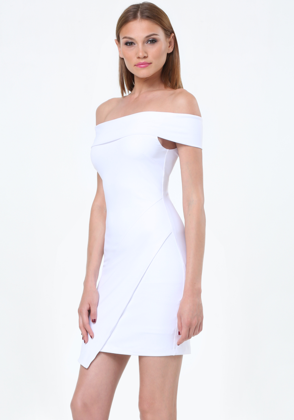 Bebe Off Shoulder Dress in White | Lyst