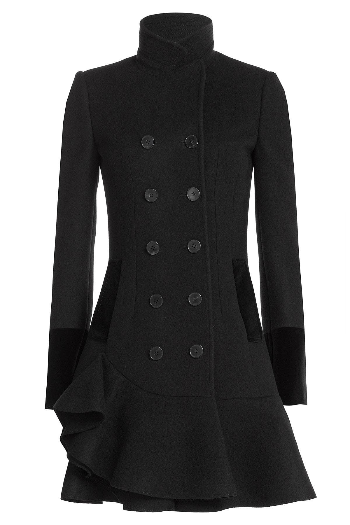 Alexander mcqueen Virgin Wool Coat With Flared Hem - Black in ...