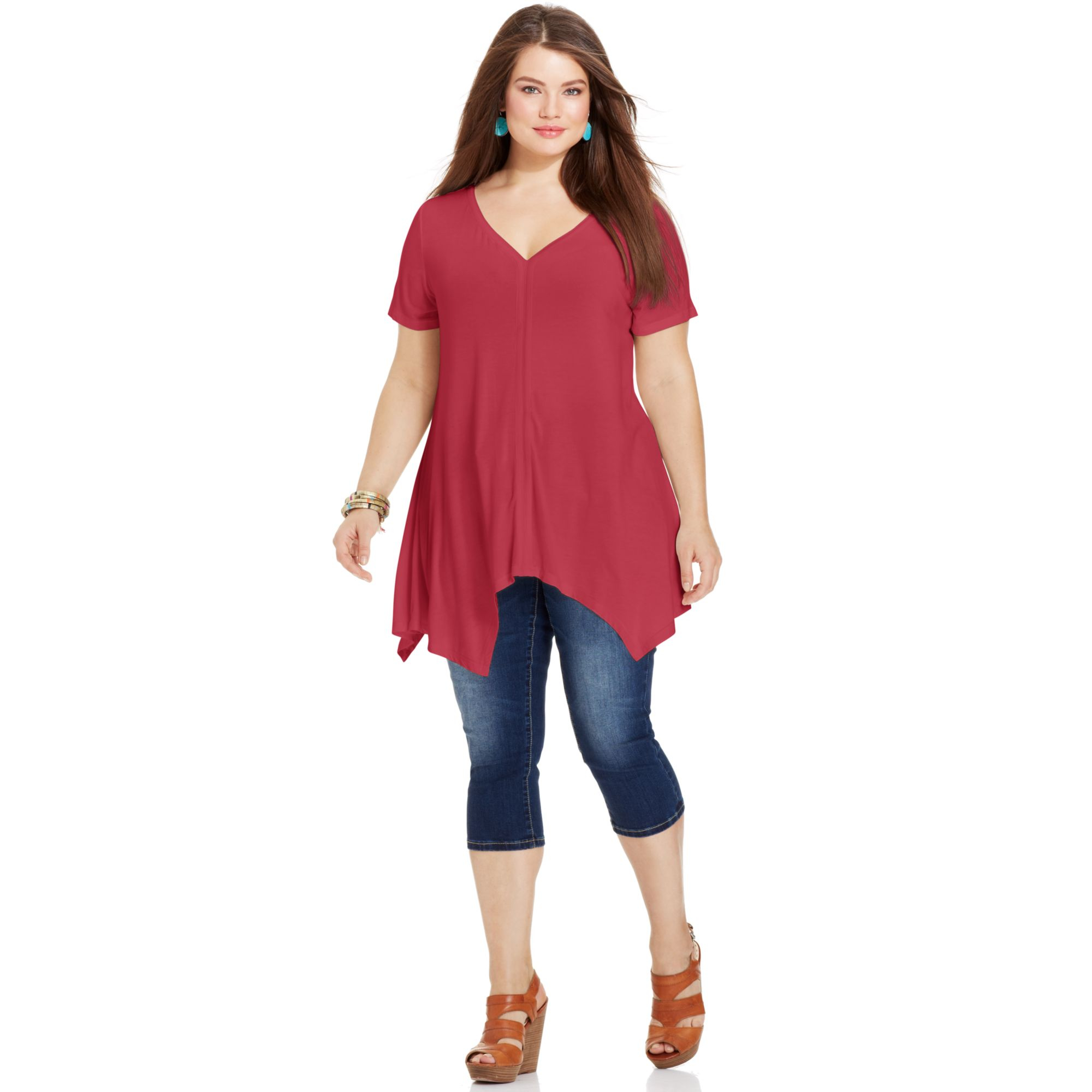 American Rag Plus Size Short Sleeve Handkerchief Hem Top