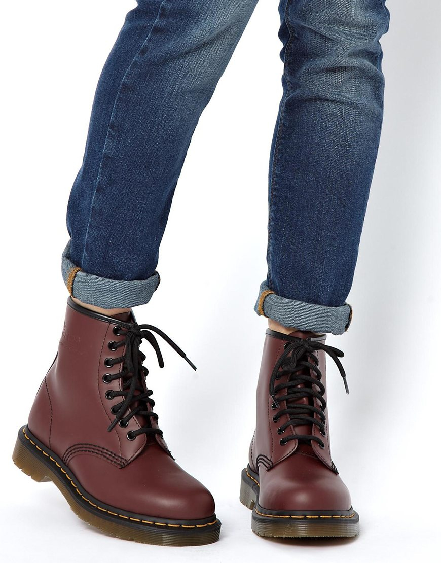 f8eab79a87e2f Dr. Martens Modern Classics Cherry Red Smooth 1460 8-eye Boots in ...