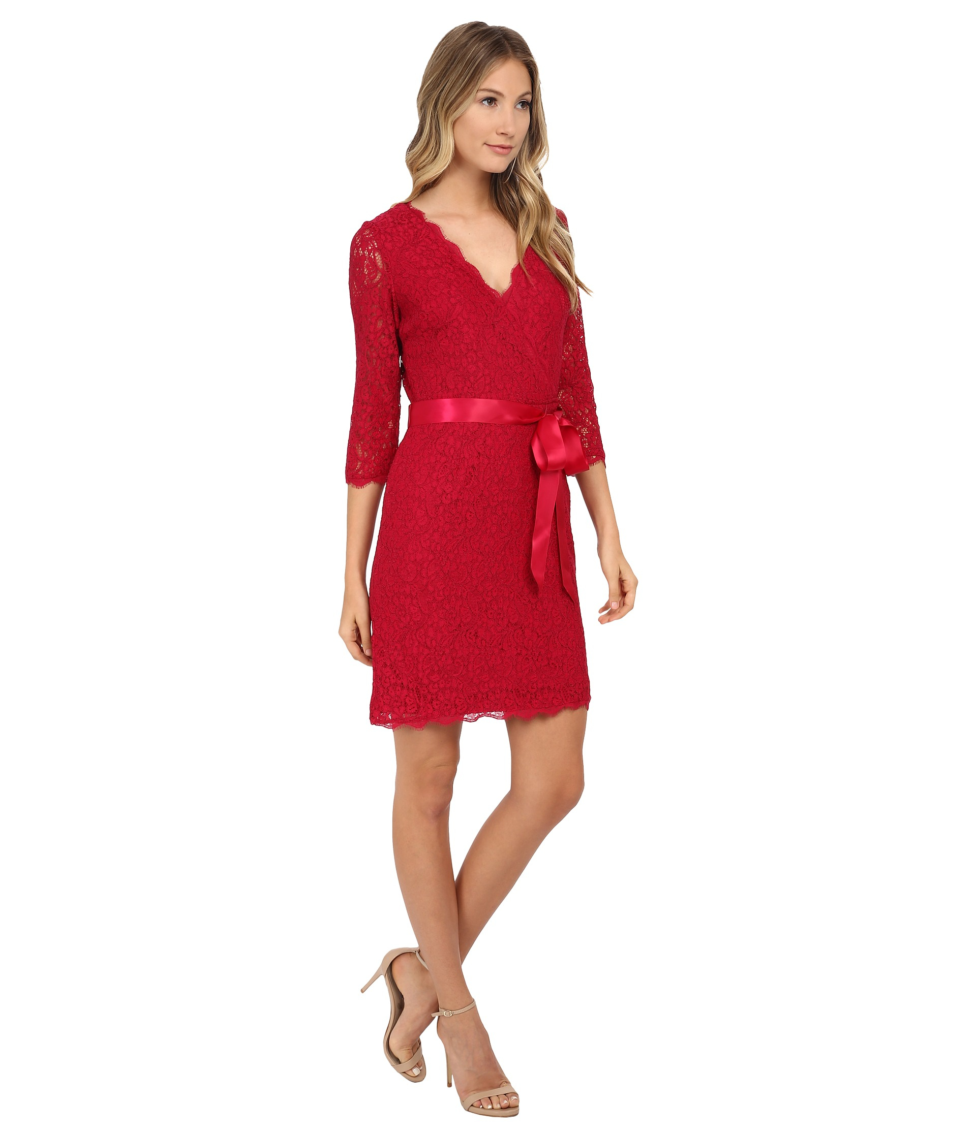 Quarter Sleeve Red Lace Cocktail Dress