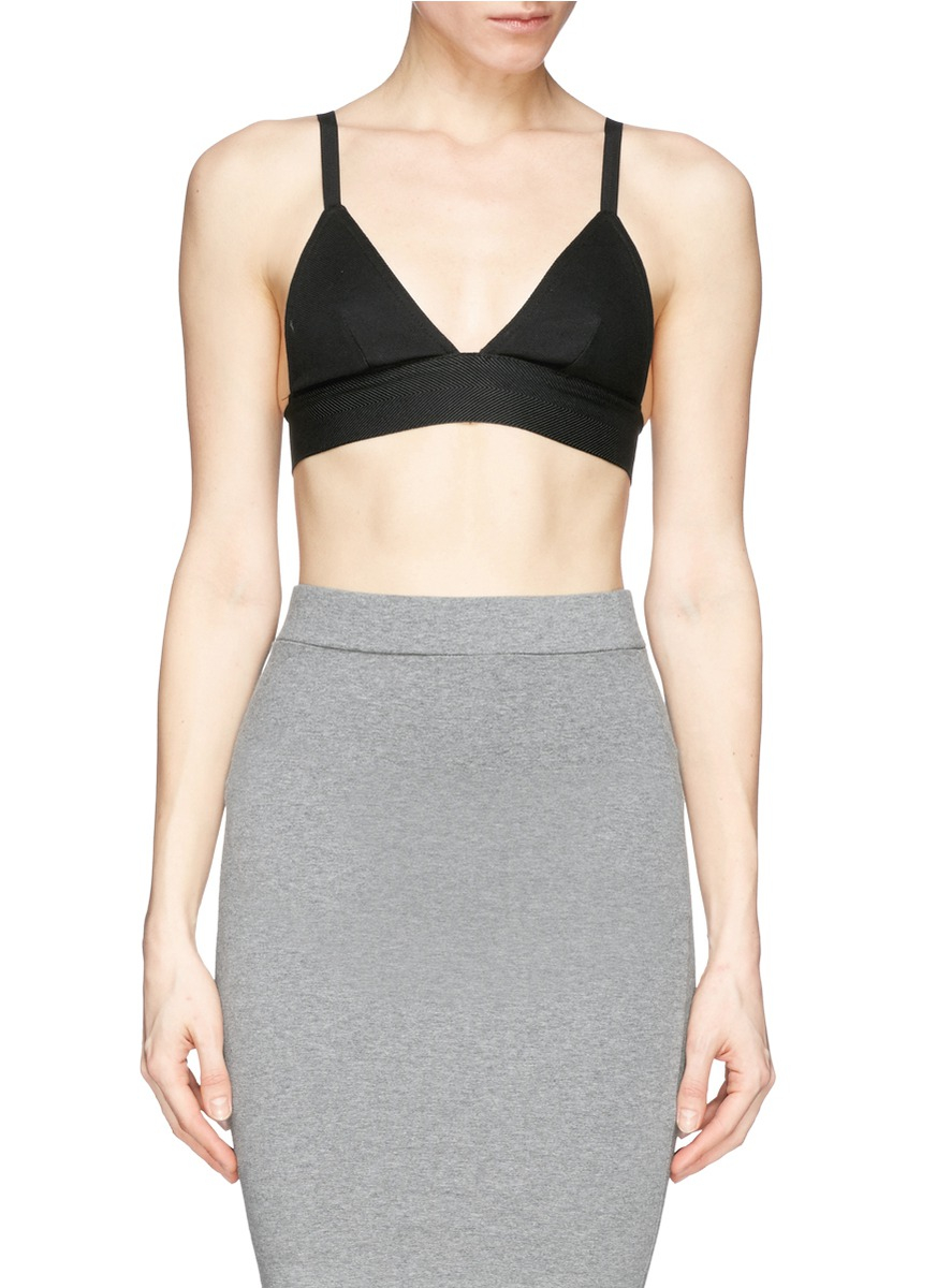 dc494cace0 Lyst - T By Alexander Wang Stretch Piqué Triangle Sports Bra in Black