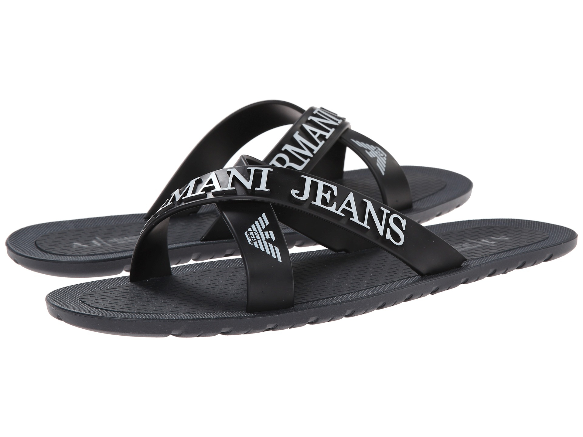 38626aaa2 Lyst - Armani Jeans Crossover Casual Flip Flops in Blue for Men