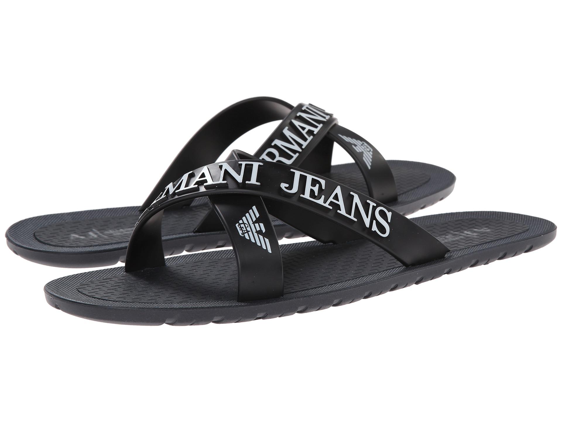 d89b7dd7056b Lyst - Armani Jeans Crossover Casual Flip Flops in Blue for Men