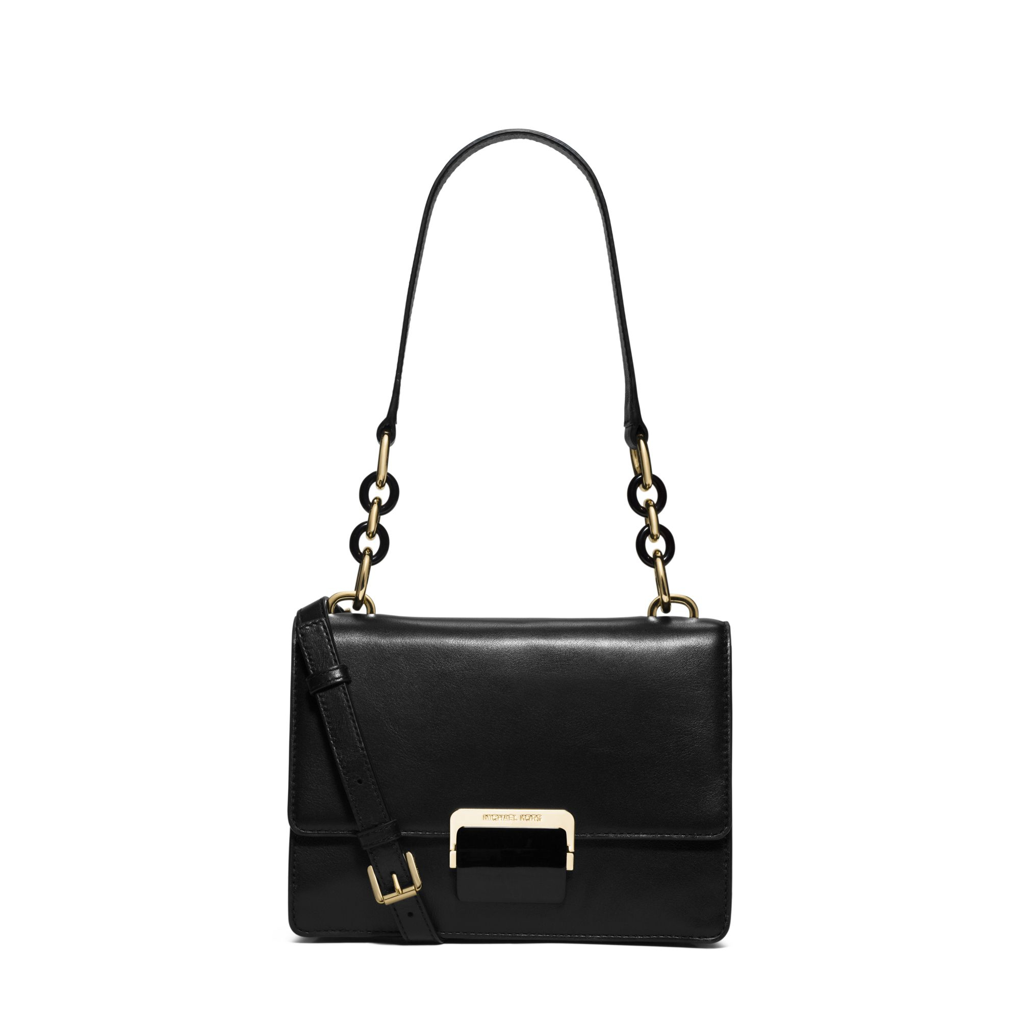 Michael kors Cynthia Small Leather Shoulder Bag in Black | Lyst