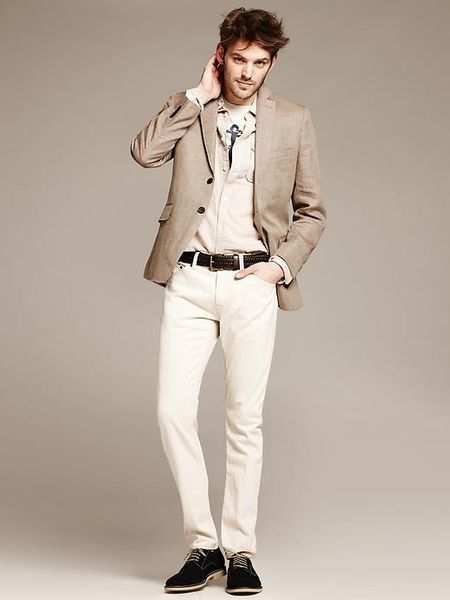 Banana Republic Tailored Fit Khaki Linen Blazer In Khaki